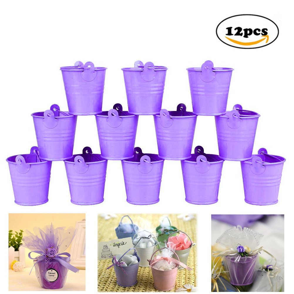 SurePromise 12Pcs Mini Metal Bucket Candy Favours Box Pail Wedding Party Gifts Silver