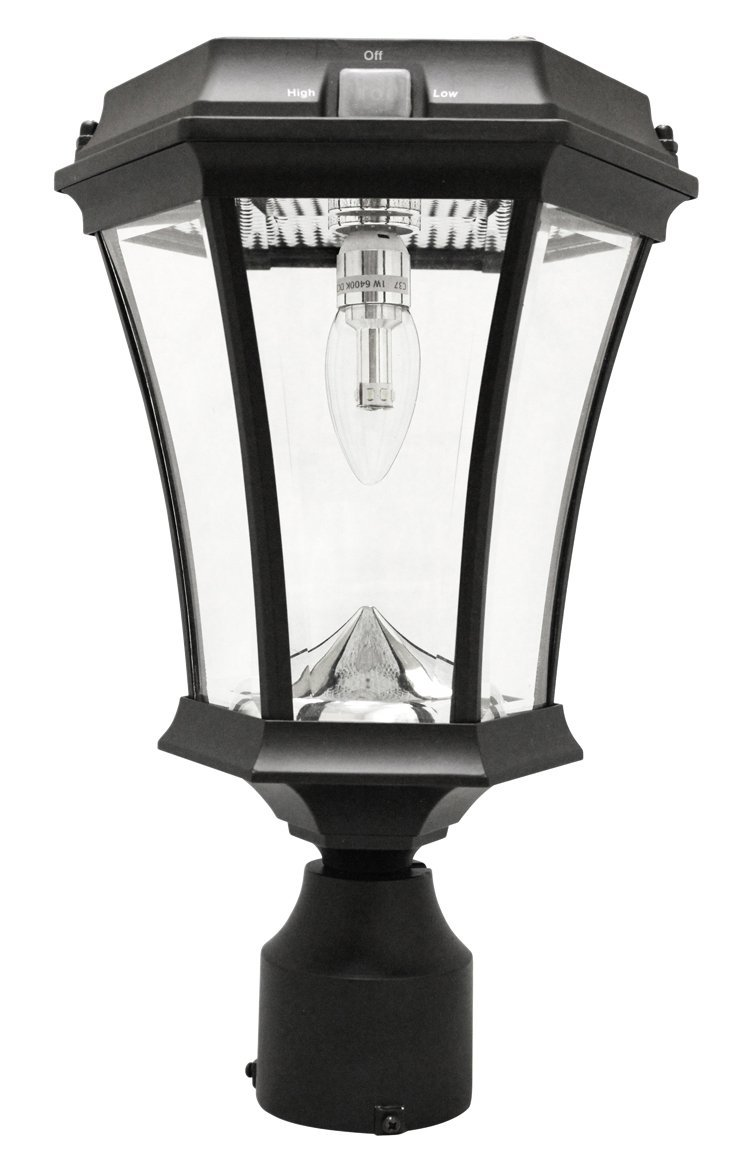 "Gama Sonic Victorian Bulb Solar Lamp with GS Solar Light Bulb (3"" Fitter/Pier/Wall Mounts), Black"