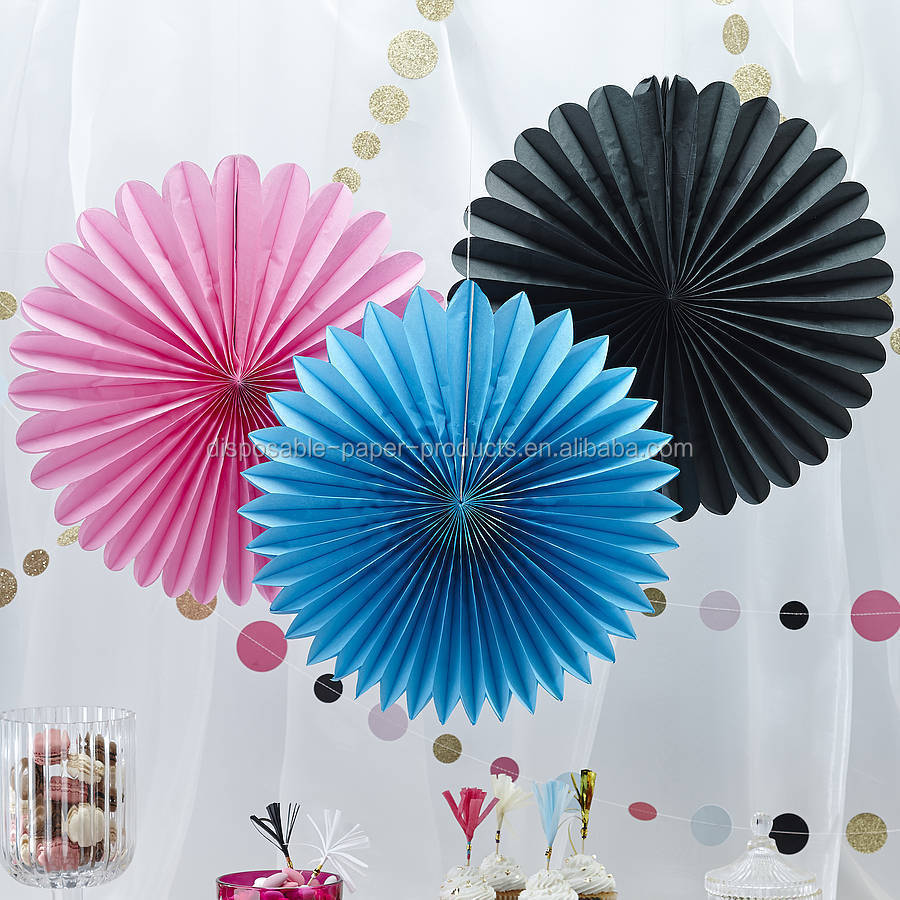 Hanging Tissue Paper Fans honeycomb balls Tissue Party Wall Fan ...