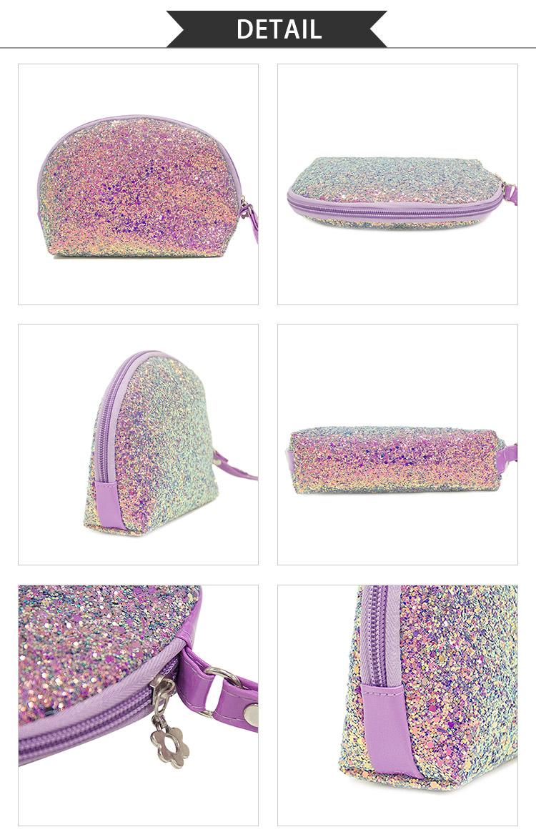 Sequin Glitter Makeup Bag Purse Cosmetic Pouch for Travel