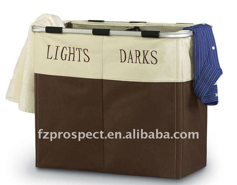Lights And Darks Dual Sort Laundry Hamper With Portable Drawstring Mesh Liner Wooden Product On
