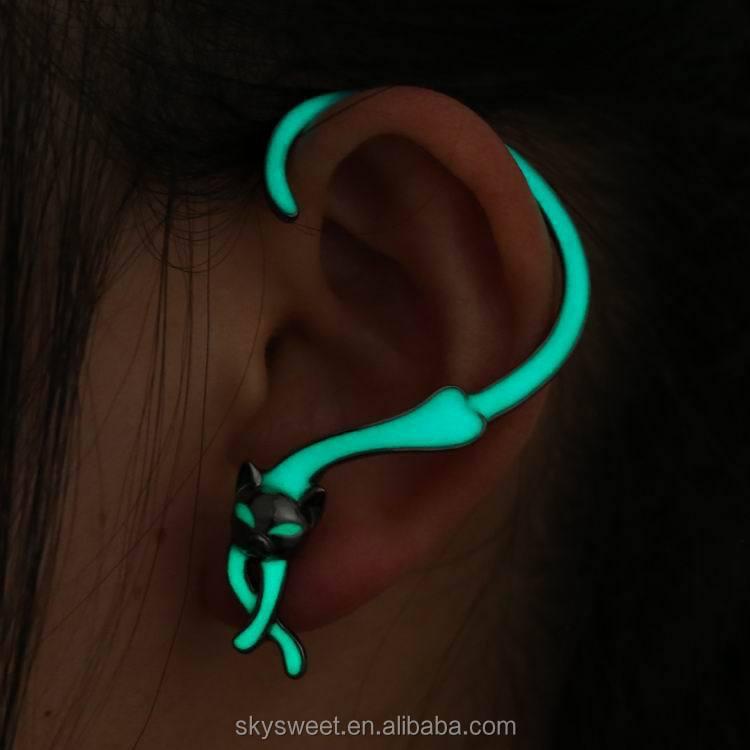 Fashion Animal Cat Earrings Punk Style Glow In The Dark Swtaa1209 Earring Led Ear Cuff Product On Alibaba