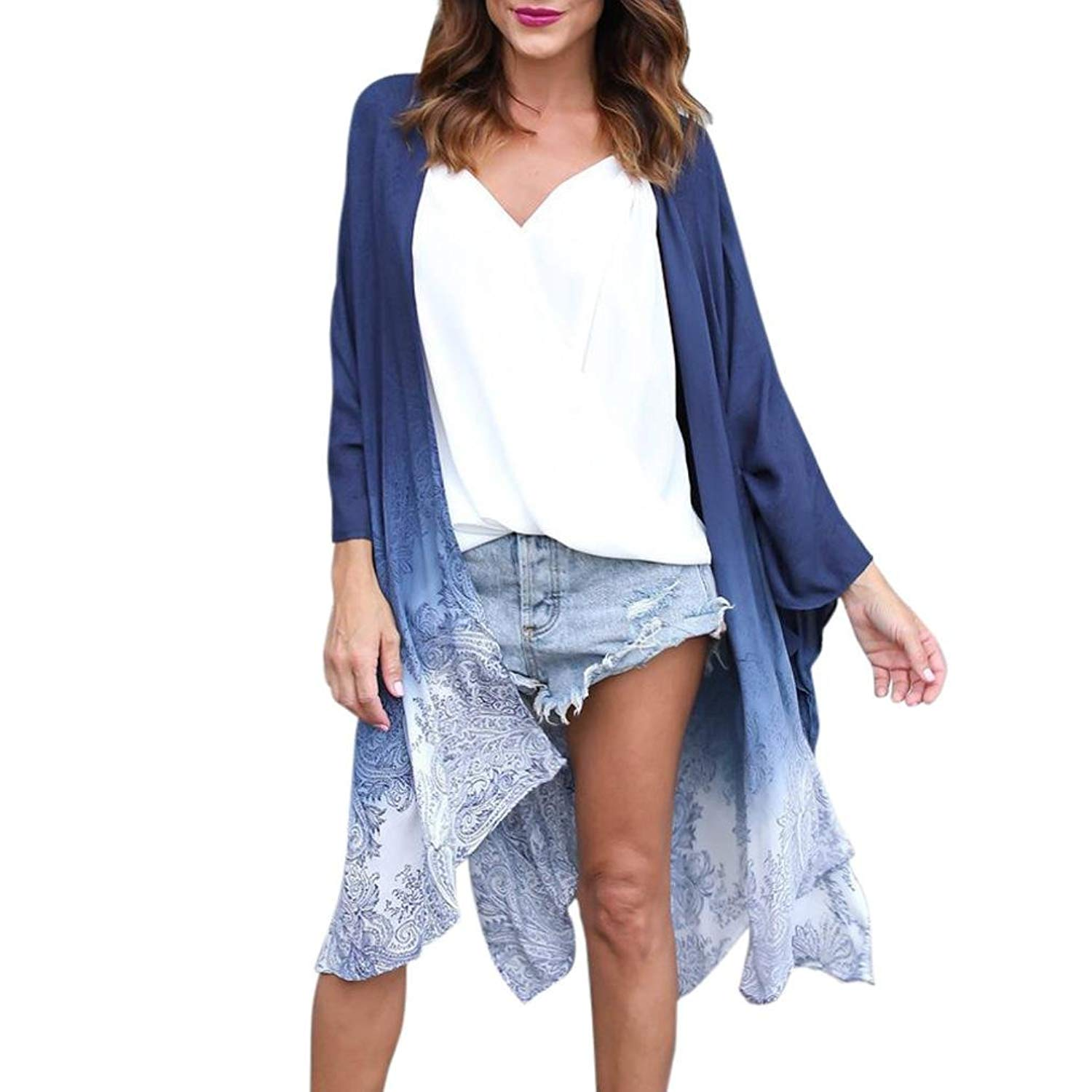 Hot Sale! FDelinK Womens Chiffon Floral Kimono Cardigan Cover Ups Casual Loose Blouse Tops Outwear