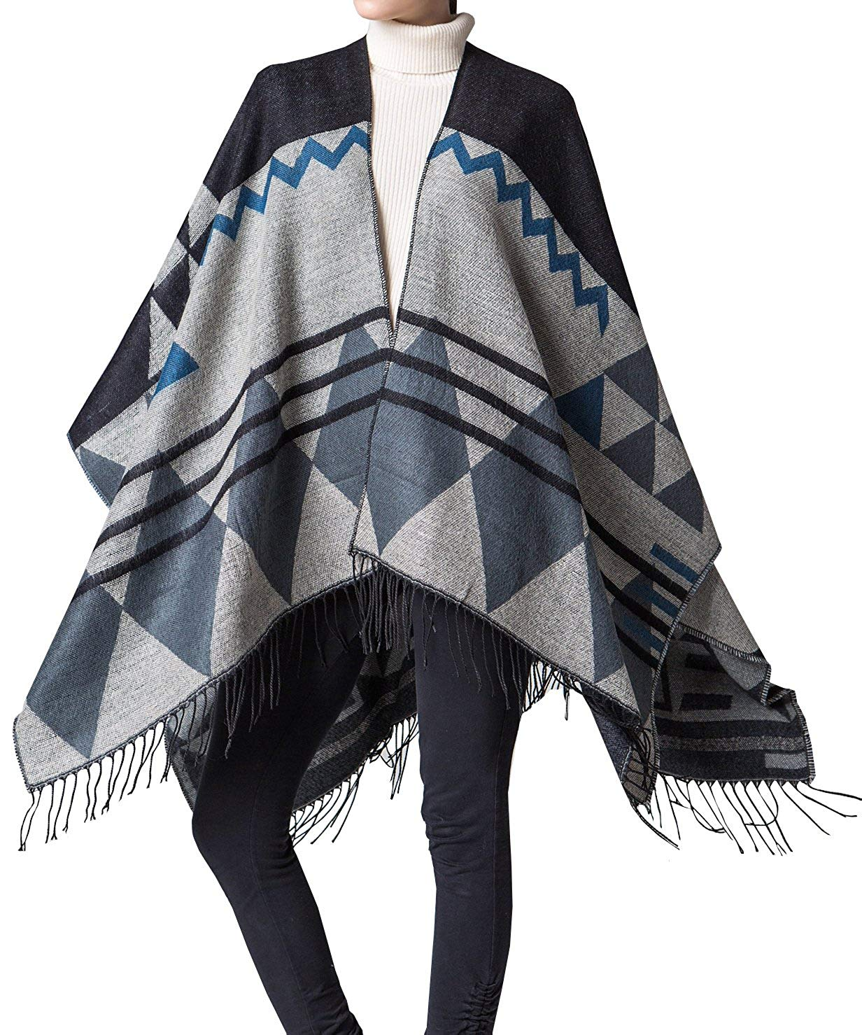 192323755 Get Quotations · Foucome Bohemian Tassel Cashmere Poncho Capes Women's  Winter Warm Ethnic Scarves Shawls Female Longer Scarf Pashmina