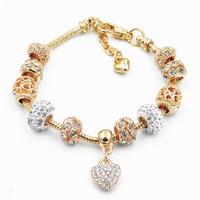 2019 Gold Charms Bracelets OEM bracelet for Women Girls Jewellery Diy Jewelry Ladies Heart Pendant Glass Beads Bracelet