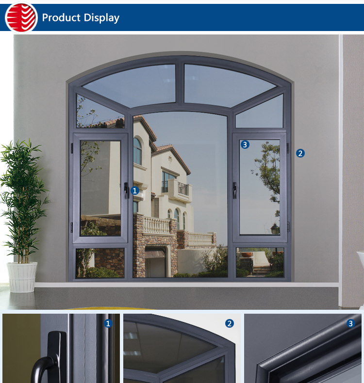 Rogenilan 45 customized grey color french big aluminum for Window frame design