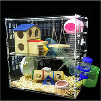 Two Layer Transparent Acrylic Pet Cage For Hamster With Various Toys