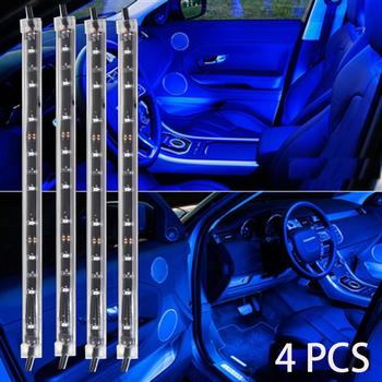 Strisce Led Per Auto Interni.4 Pz Decorazione Di Interni Auto Atmosfera Luce Led Car Interior Lighting Kit Interni Atmosfera Luci Al Neon Striscia Blu Buy Led Illuminazione