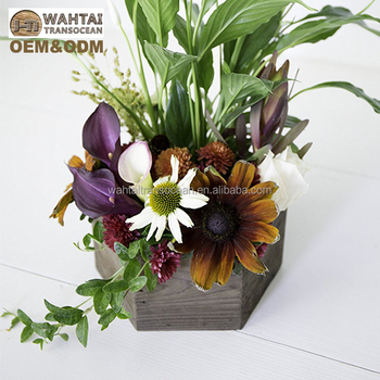 Alibaba & Hexagon Rustic Wood Succulent Flower Planter Box With Plastic Liner For Wedding Centerpiece - Buy Wood Flower PotsPalnt PotsSucculent Plants ...