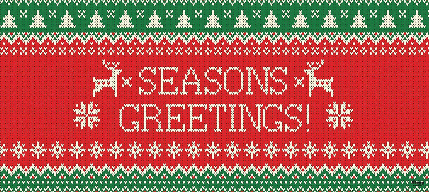 Victory Corps Outdoor Christmas Holiday Garage Door Banner Cover Mural Décoration - Ugly Christmas Sweater Seasons Greetings - Outdoor Christmas Holiday Garage Door Banner Décor Sign 7'x16'