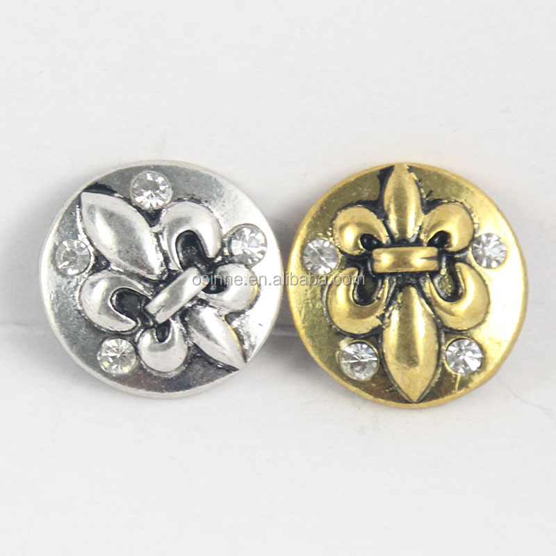 18mm Interchangeable Metal Snap Button Jewelry Gold and Silver Plated
