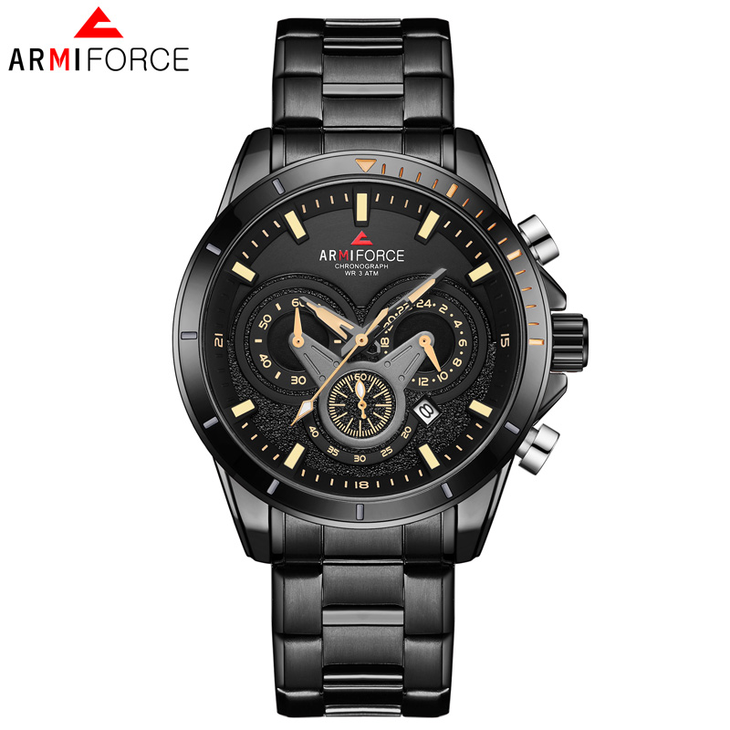 AF8005 New <strong>Hot</strong> Men's Stainless Steel Belt Watch Luxury Business Waterproof Quartz Men's Watch