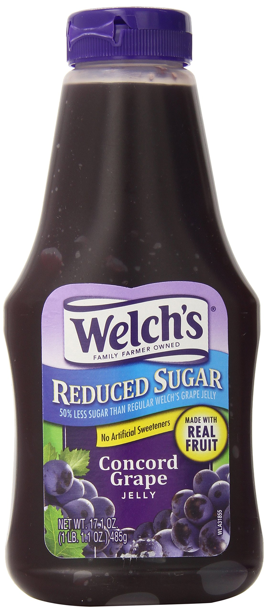 Welch's Reduced Sugar Concord Grape Jelly, No Artificial Flavors or High Fructose Corn Syrup, 17.1 Ounce Squeeze Bottles (Pack of 12)