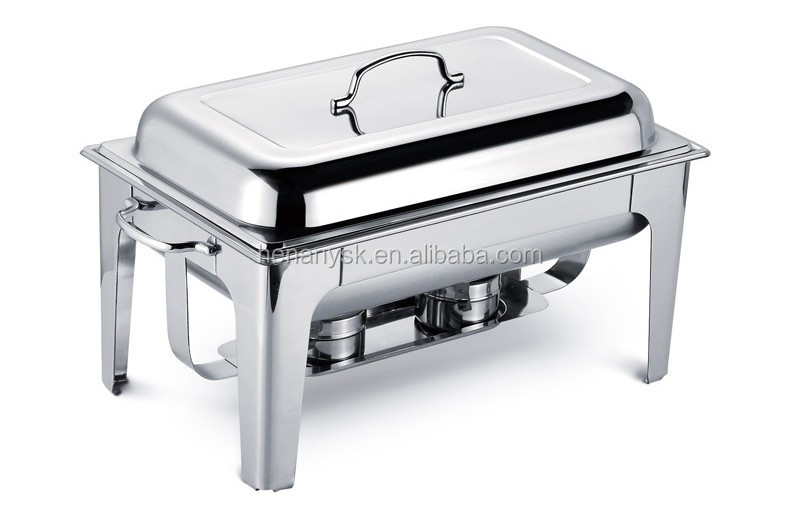 IS-GS-0182B Stainless steel rectangular buffet furnace doub-soup stove buffet electric or alcohol heating cooking furnace