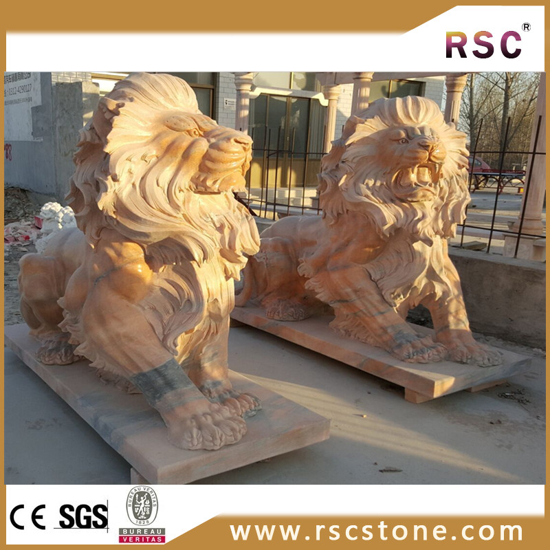 Afterglow Red Marble Life Size Lion Statue Product On Alibaba