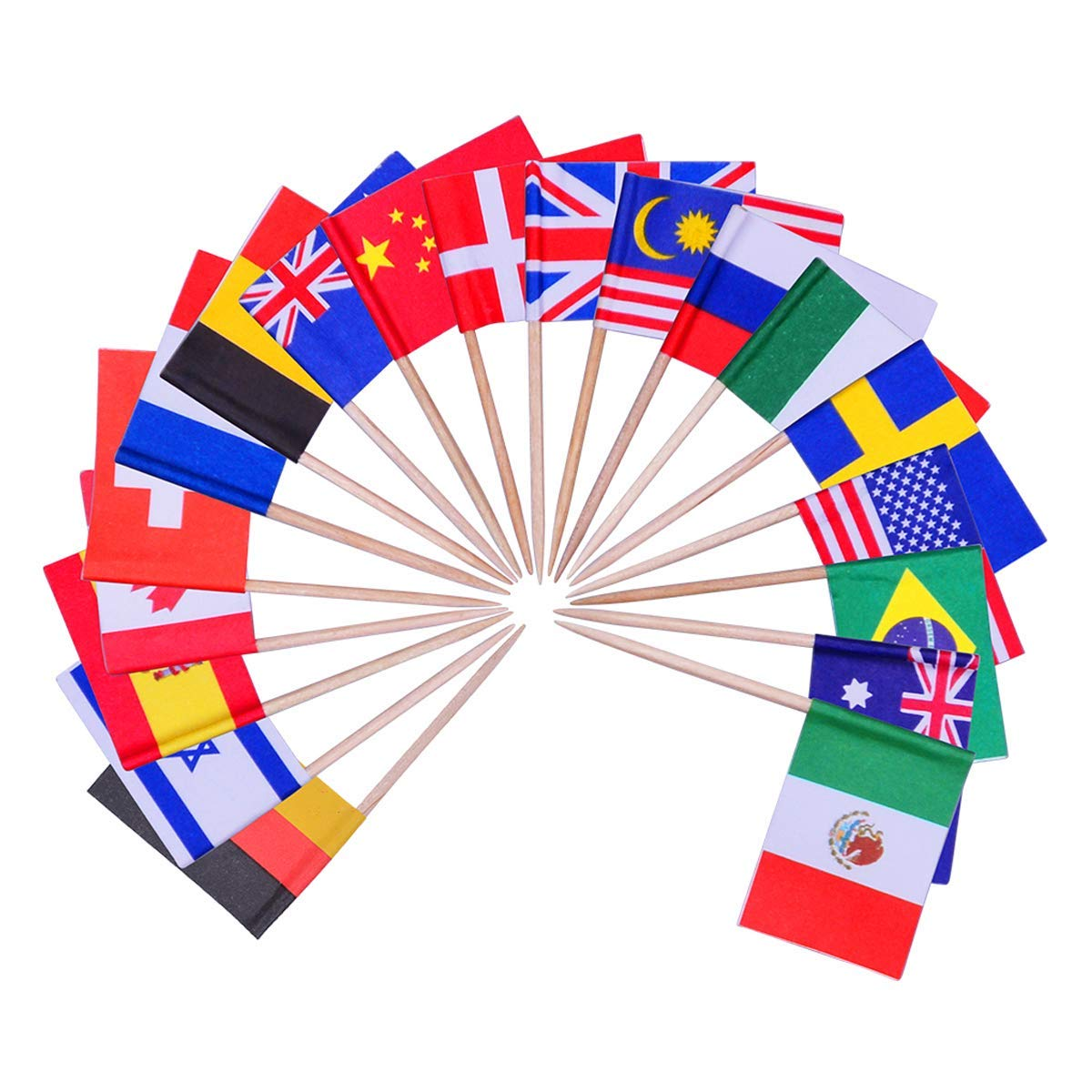 fdd8e26b9a3 YoungRich 100 Pack World Flag Sticks International Flags and Banners Toothpicks  Cocktail Sticks Cupcake Picks Banner