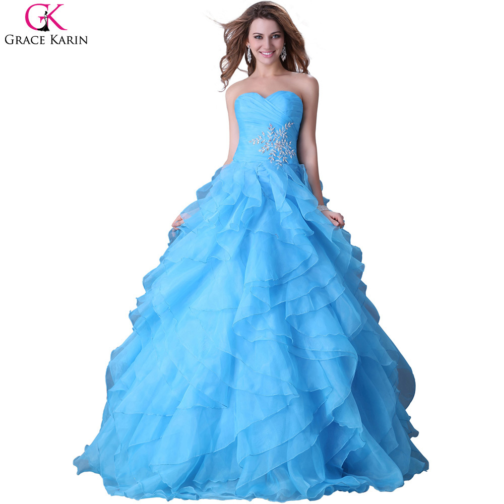 Buy Sweetheart Grace Karin Strapless Organza Red Blue Yellow Long ...