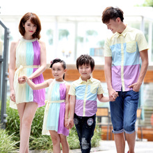 2016 Vocation Family Matching outfit set 3 Color patchwork Mama Girl Chiffon Dress Dad boy Cotton