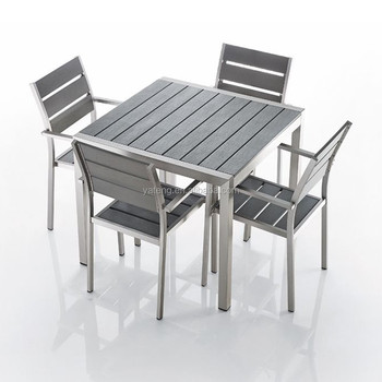 Metal Furniture Anodized Aluminum Frame With Plastic Wooden In Grey Dining  Set