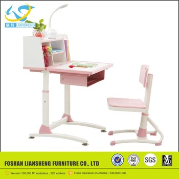 Combo Model Of Study Table Modern School Desk And Chair Colored Kids