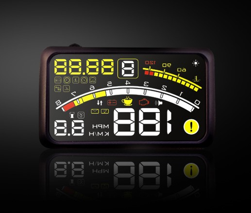 5.5 inch hud for car compatible with obd2 and euobd with speedometer