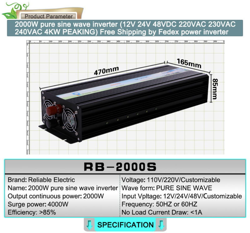 RBP-2000S-LED, 2000W Off Grid Pure Sine Wave Inverter Solar/Car/Appliance Power Inverter with LED Display