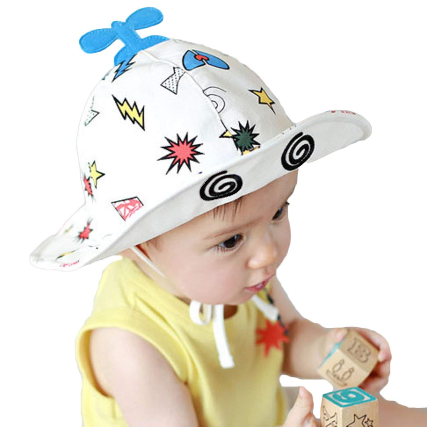 99d052325a1 Get Quotations · Baby Girls Boys UPF 50 Caps Cartoon Plane Bucket Hat Sun  Protection Wide Brim Hat with