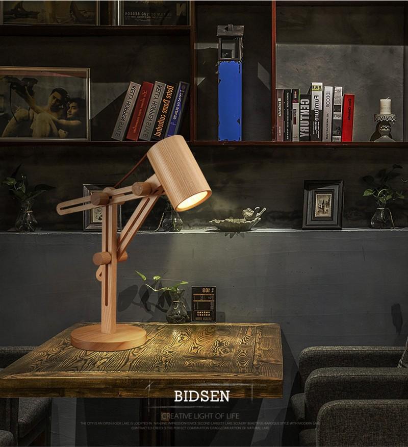 Decoration Lighting Vintage Edison Bulb Wooden Base Table Lamp ...