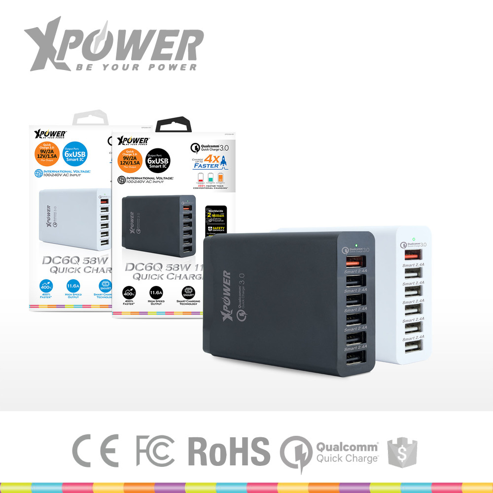 Custom Rohs Quick Charge 2.0/3.0 UK standard 58W 6 outputs 2.4A black white Cell phone Intelligent phone charger for computer