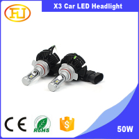 Super bright X3 led headlight high power 50w 6000lm car Led Headlight kit 9012 led