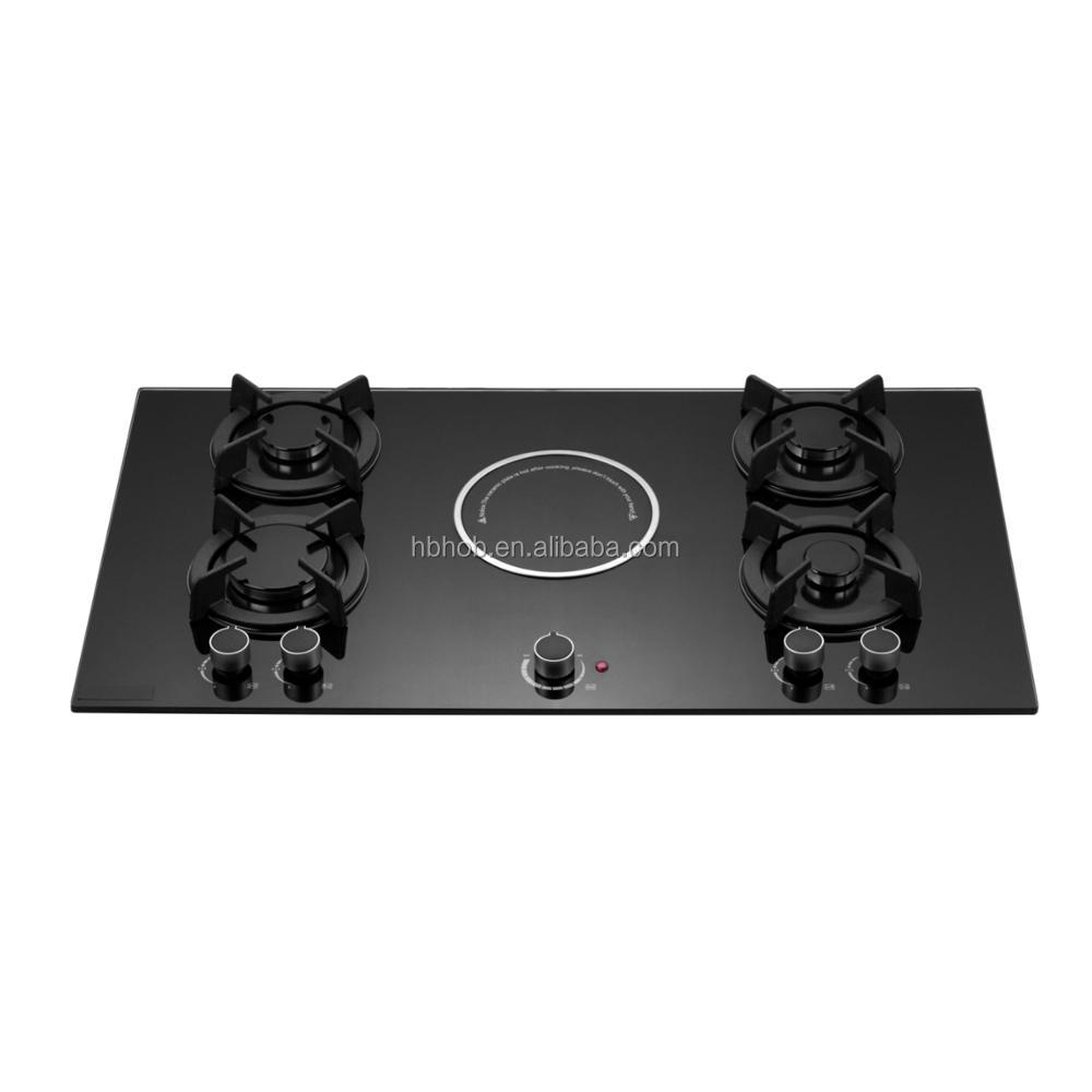 Built in 5 Burner Tempered Black Glass gas stove/Gas hob/Gas cooker with hotplate