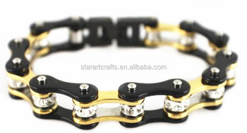 Ym069 Gold And Black Color Ladies Bike Chain Motorcycle Bracelets