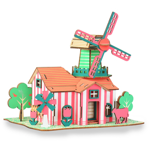 Assembly 3D puzzle Wooden pink house Series Laser Cut
