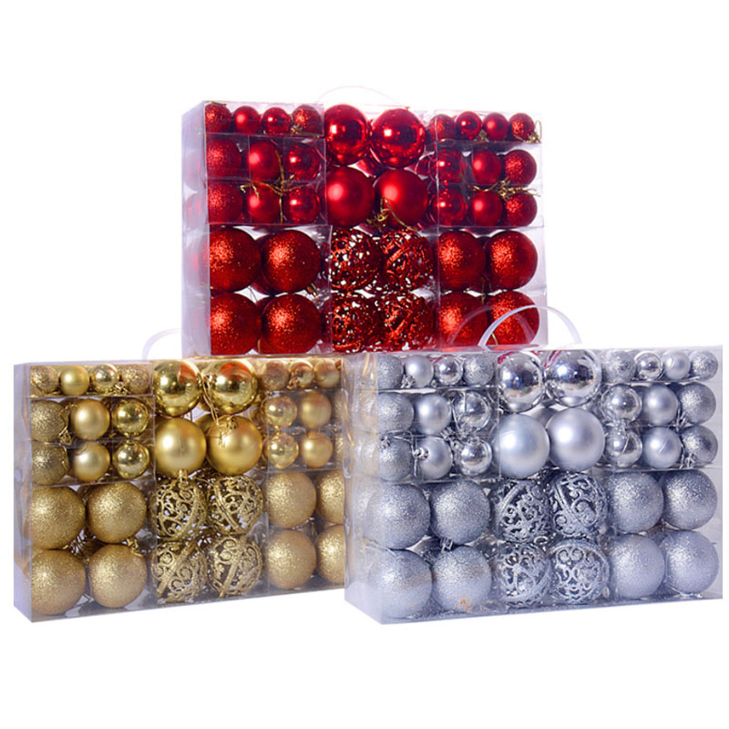 100 pcs Christmas Ball Gift Box Christmas Tree Ornaments with 3-6cm Lght/Mat/Pink/Hollow Ball, Christmas Plastic Baubles/Ball