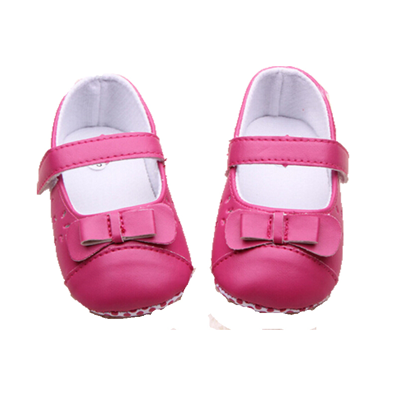 2015 New Arrival Spring & Autumn PU Leather Girls Kids Newborn Baby Flat First Walkers Princess Bow Mary Janes Soft Bottom Shoes