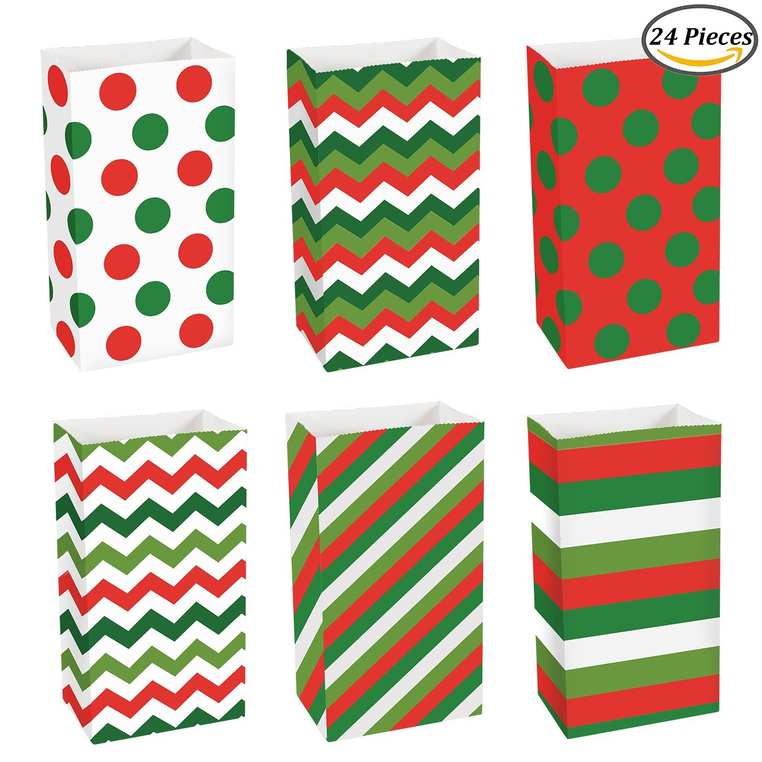 Coobey 24 Pieces Christmas Paper Bags Kraft Gift Bag Grocery Party Bags Craft Paper Bags Flat Bottom Treat Paper Bags Party Favor, 6 Designs