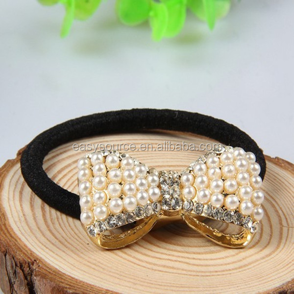 Hot selling High quality bowknot hair jewelry ornaments handmade pearls crystal accessory elastic hair ties for women