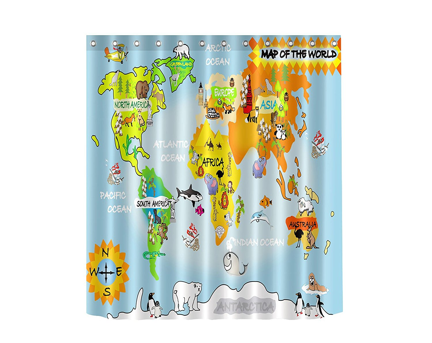 Kids Water Repellent Fabric Map of the World Shower Curtain 70x70 in Children Cute World Map Curtain Animal Shower Curtain
