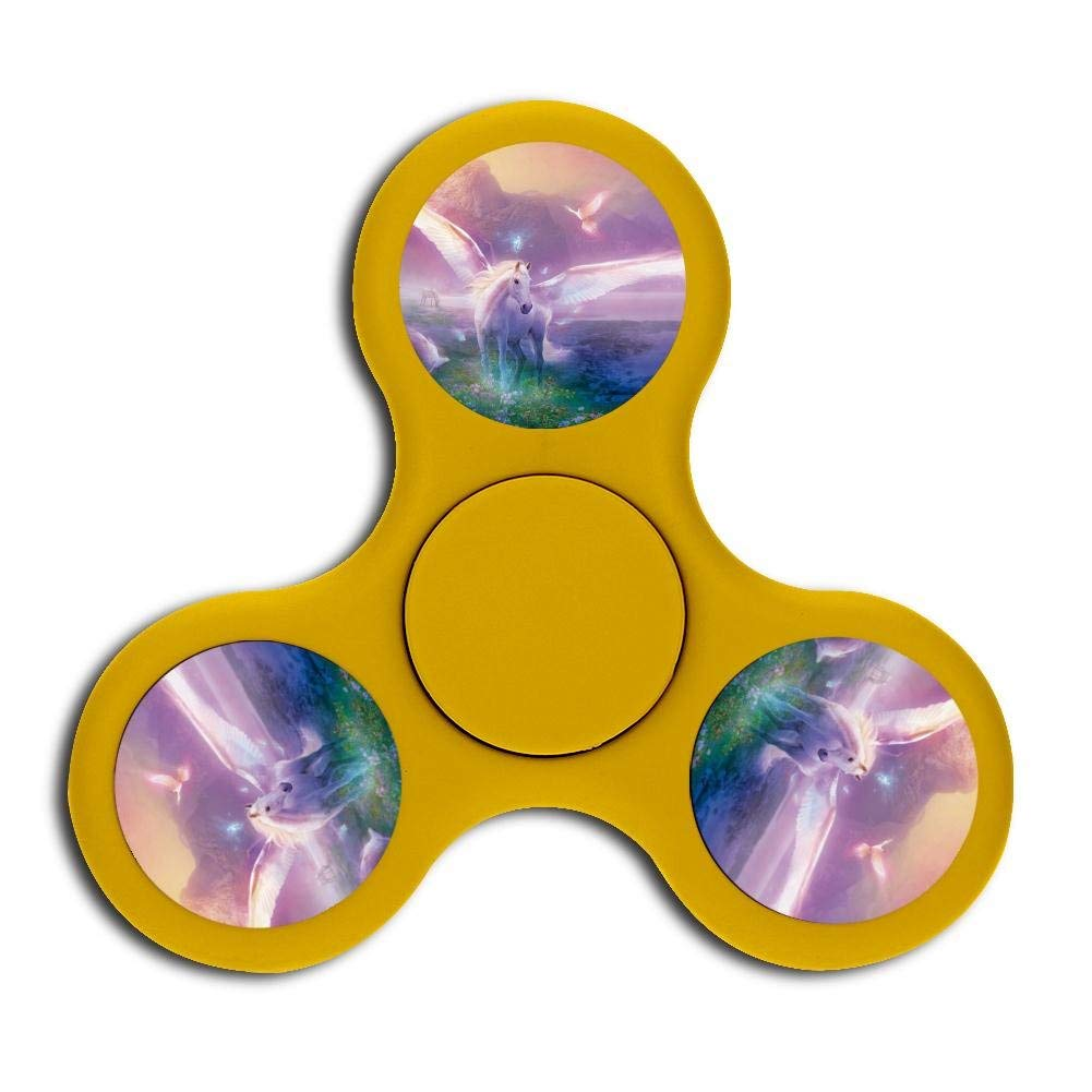 Best Unicorn Fidget Spinner, hand rotation stress and anxiety relieve toys, treat ADHD, autism and ADD, promote calm clarity and focus Yellow