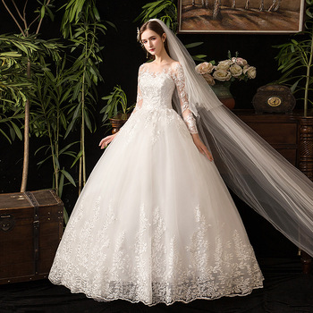 New Arrival Full Sleeve Champagne Ivory 2 Color Customize Ball Gown Plus Size Wedding Dresses Real Image Bride S Gowns Buy Classic Victorian Ball Gowns Long Sleeve Champagne Wedding Gown Plus Size Long Sleeve Wedding,Wedding Guest Attire Not Dress