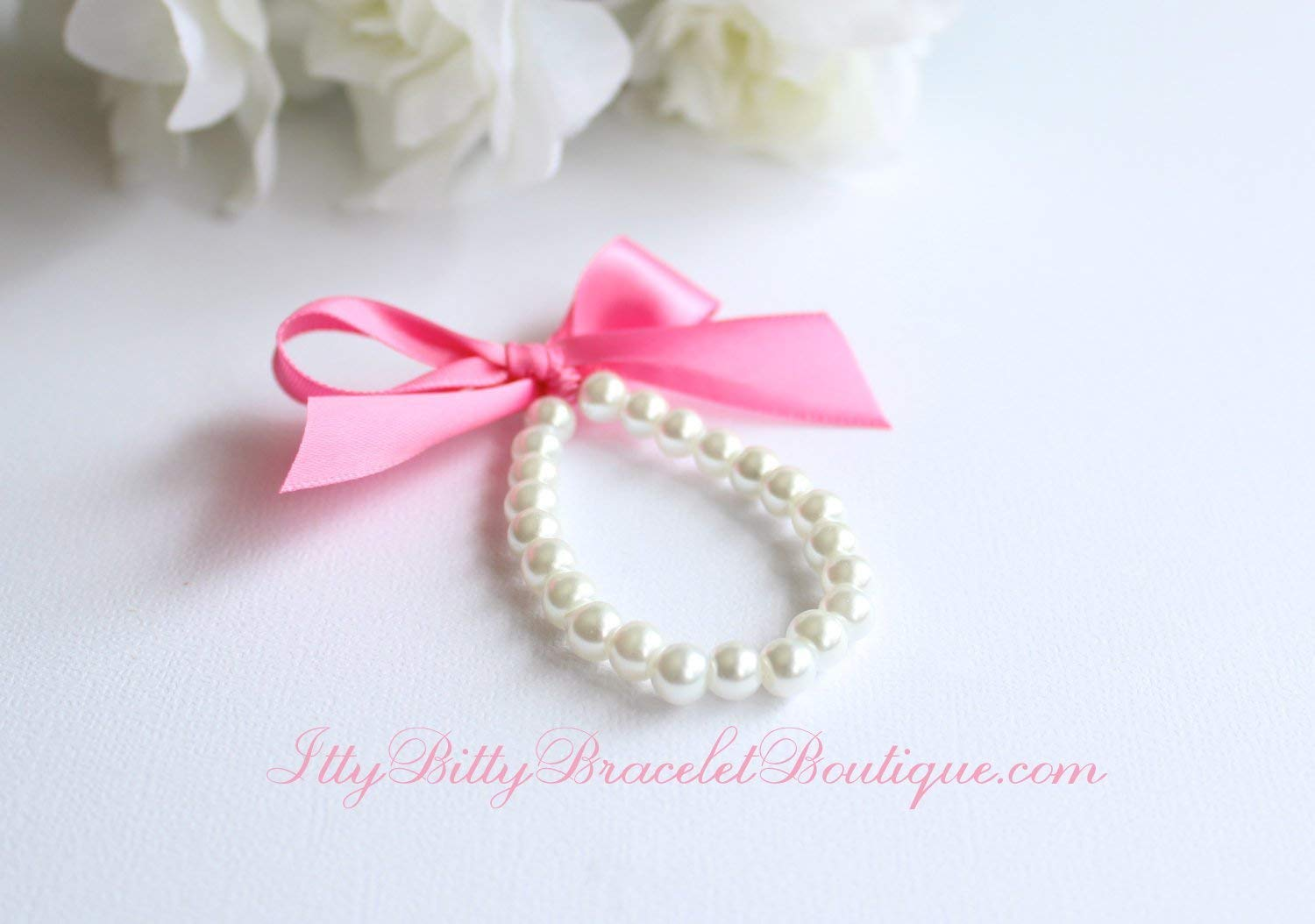 Pearl Bracelet with Bow, Gift for Girls, Baby Girl Bracelet, Baby Gift, Pink Ribbon Custom Colors, Photo Prop, 1st Birthday, First Pearls - FREE Gift Packaging