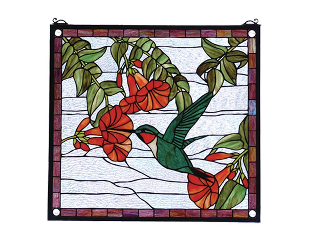 "Meyda Hand Crafted Designed Art Decorative Panel 21""W X 19""H Hummingbird Stained Glass Window"