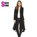 Brief Turn Down Dovetail Pleated Hem Autumn Winter Coat Women Casacos Femininos 2016 New Fashion Covered