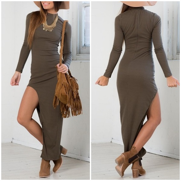 Wholesale Women's Clothing Manufacturer Plain Bodycon Ribbed Dress Long Sleeve High Split Cutout Casual Maxi Dresses
