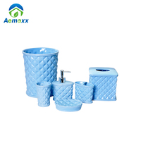 Modern new goods complete 6pcs blue ceramic bathroom set china