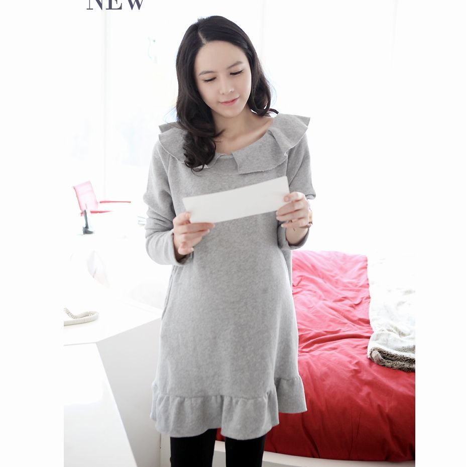 f14efe65370 Get Quotations · 2014Maternity clothing autumn ruffle collar maternity dress  brief fashion long-sleeve dress for pregnant women