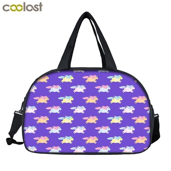 90850d1e999 Wholesale Adorable Unicorn Licorne Printed Women Girl Travel Gym Yoga Sports  Duffel Bags With Shoe Compartment