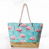 Women Rope Handle Canvas Beach Bag Flamingo