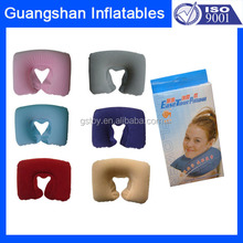 Inflatable PVC flocking adult size travel neck pillow