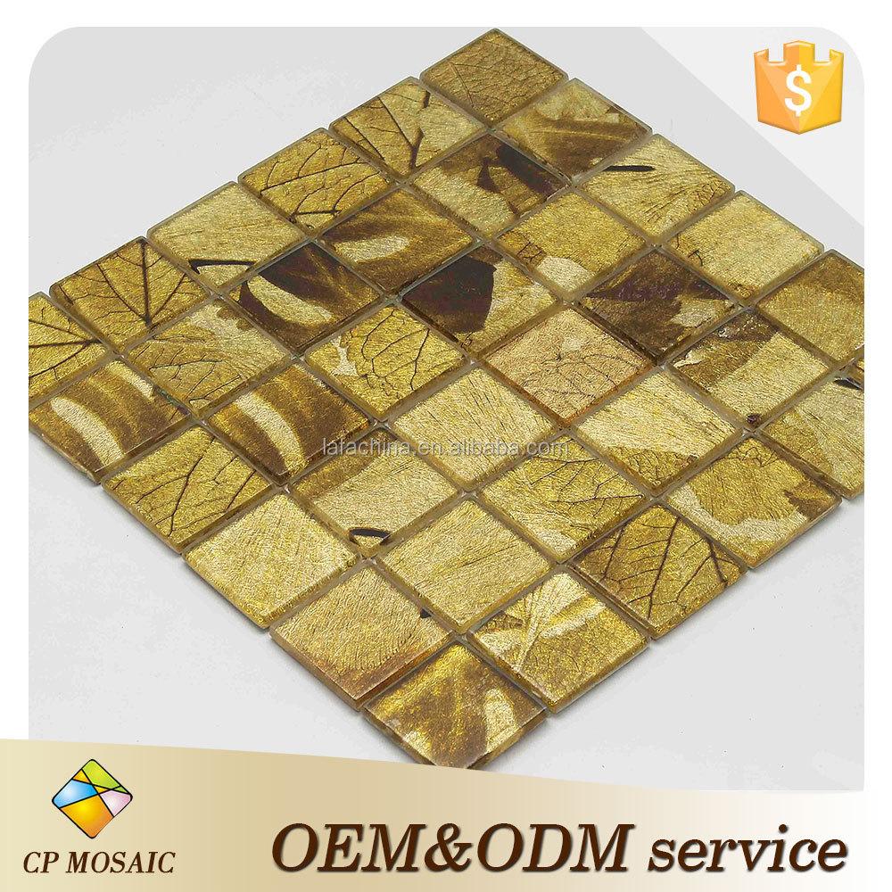 2016 Hot Sale Factory Elegant Gold Leaf Glass Mosaic Tile For Wall ...